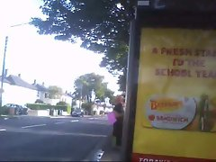 Outdoor Public Masturbation at Bus Stop No Cum, Flash 10