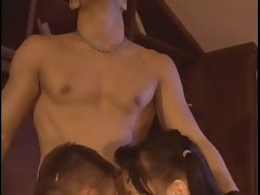 Massage goes into bisexual threesome