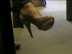 Peep toe Slingback Brown