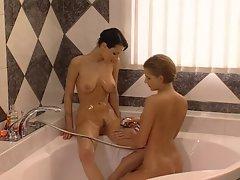 Michelle Wild &amp, Petra Short taking a shower