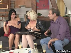 He finds her GF fucking his old parents