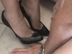 cum on black highheel pumps