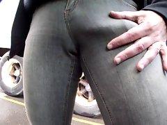 huge bulge in tight jeans