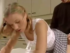 Blonde teen beauty upskirt fuck on kitchen table
