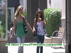Rilee and Sara sexy lesbian teenages flashing tits in a public place