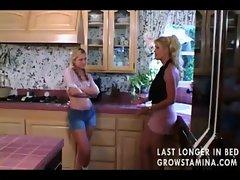 Stepmom seducing stepdaughter with dildo