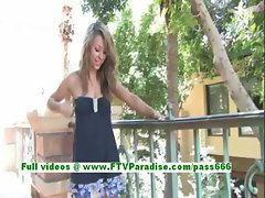 Rilee lovely blonde babe fingering pussy and posing outdoor