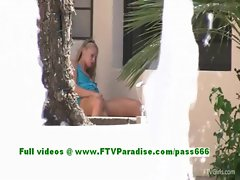 Lena lovely blonde babe fingering pussy outdoor