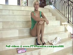 Angelic blonde babe toying and fingering her pussy on the stairs