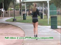Patricia cute blonde babe work out and public tits flashing