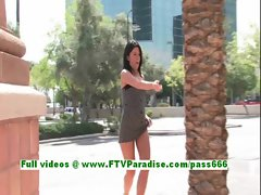 Kylah superb brunette babe public flashing tits and pussy