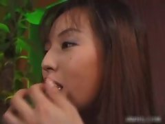 Two hairy Japanese lesbians licking each