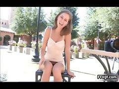 Naughty teen girl giving an upskirt k