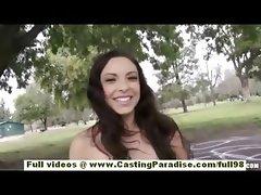 Danni Cole amateur brunette teen fingering her pussy outdoor