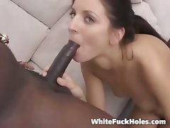 After riding his black rod her let all hsi juices flow right on her cute little face