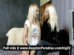 Stunning blonde lesbians kissing and getting naked and having lesbian love