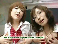 Nao Ayukawa and Rio Hamaski innocent asian girls enjoy fucking with their students