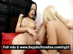 Liza and Angellina brunette and blonde lesbos licking and fingering pussy and having lesbo love