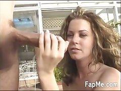 Sexy babe enjoying a massive dong