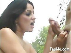 Amazing girl licking a hard dick