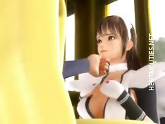Kinky 3D hentai maid sucking cock