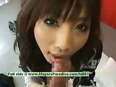 Akari Satsuki innocent naughty asian housewife doing blowjob