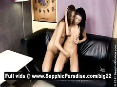 Angellina and Dulce brunette lesbos fingerig and kissing and having lesbo sex