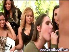 Amateur girl giving black CFNM guy head