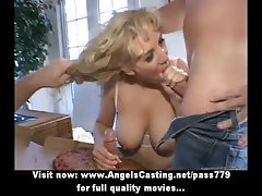 Rich blonde does blowjob and handjob for two pizza guys and rides