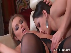 Lesbian couple kissing sensually