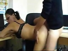 Brunette German secretary in glasses gets nailed doggy style and blows for cum