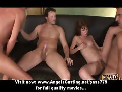 Foursome sex orgy with two naked hotties sucking and riding cock