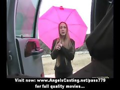 Busy elegant woman with blonde hair does blowjob for black guy in car