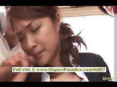 Mihiro Asian doll gets a subway pussy fingered and does blowjob