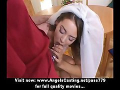Little brunette bride does blowjob and has pussy fingered and licked