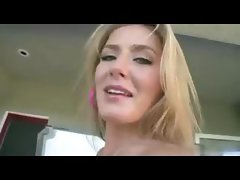 Hot blonde shows off her nice ass and then toys before fucking