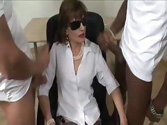 Mature Lady Sonia sucks cock like a champ in her stockings
