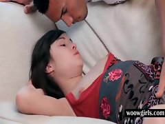 Teenie gets hot assets teased in bed
