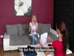 Girl needs to lick pussy at a casting
