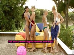 Isabella and Judit and Alison and Celine stunning lesbo girls teasing