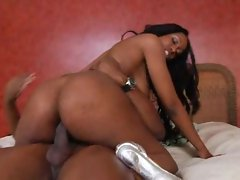 Titjob from black hottie leads to anal