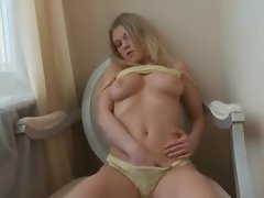 Flawless natural blonde in yellow lingerie teases