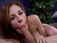 Cute slim chick with fake tits sucks your dick