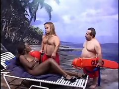 Black girl blows two midgets
