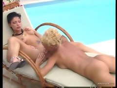 Euro girls 69 by the pool and it sizzles