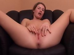 Teenager puts four wet fingers into her pussy