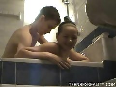 Teens in bathroom and sauna fuck