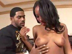 Slim black bikini girl strips lustily