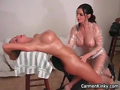 Sexy Carmen sculpting her girlfriends part4