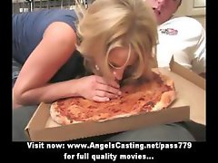 Stunning blonde doing blowjob and titsjob for pizza guy and licked
